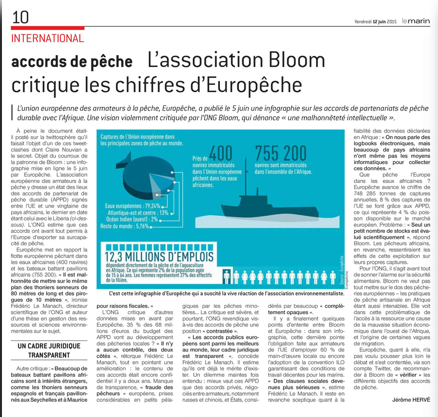 Accords de pêche Le Marin 12.06.2015