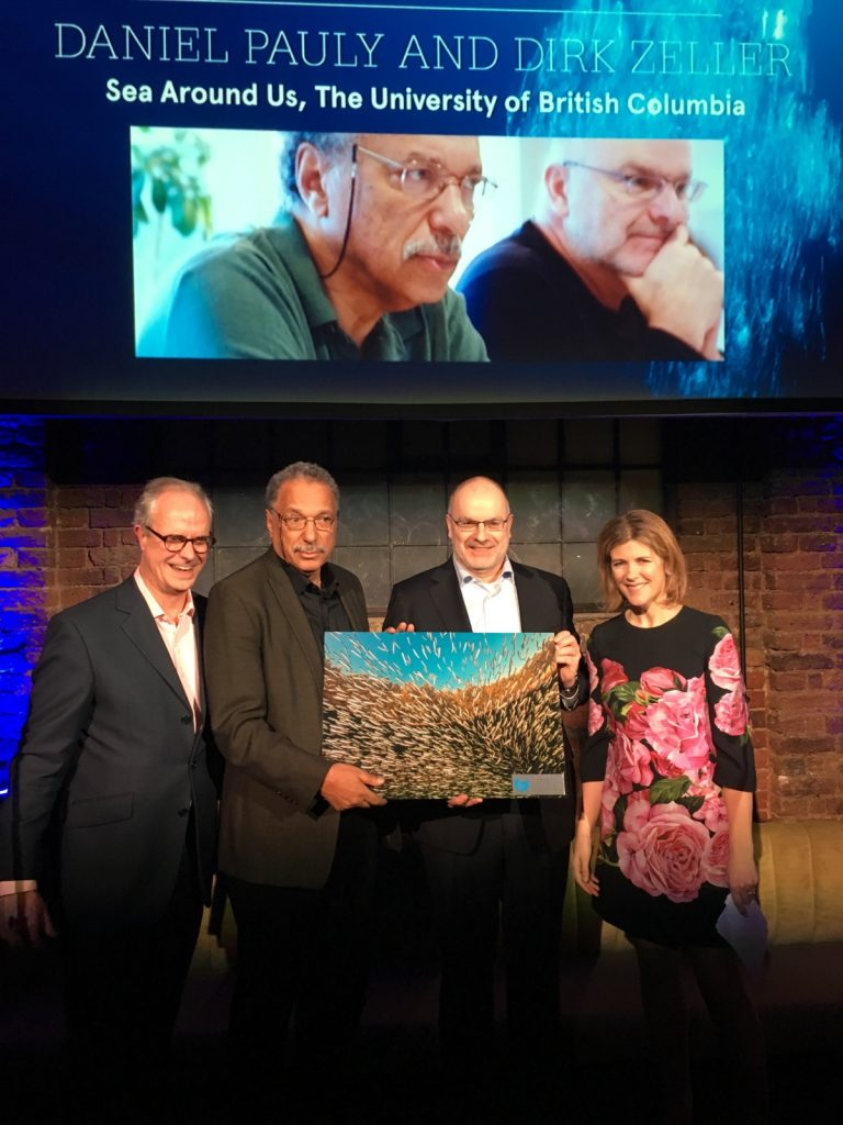 """Daniel Pauly and Dirk Zeller receiving BOAT Magazine & Blue Marine Foundation's """"Ocean Award"""" on January 11th 2017 in London"""
