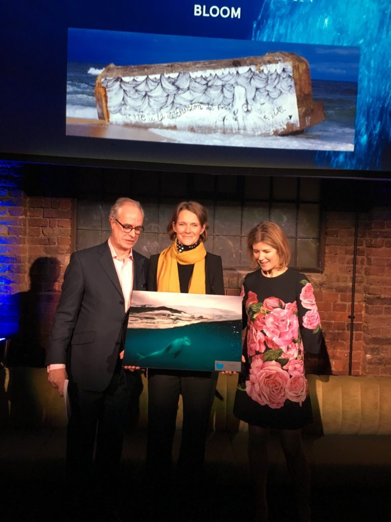"Claire Nouvian receiving BOAT Magazine & Blue Marine Foundation's ""Ocean Award"" on January 11th 2017 in London"